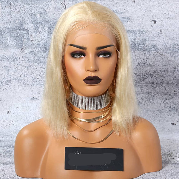 "14"" Blonde Vietnamese Human Wigs Frontal Lace"