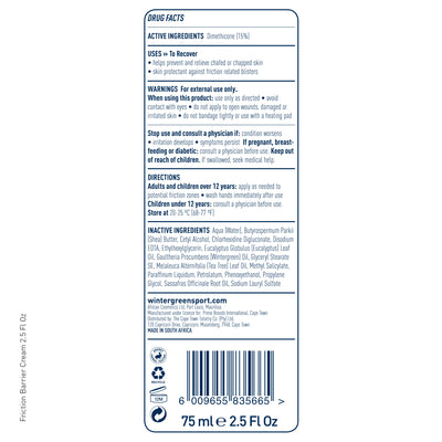 Wintergreen Friction Barrier tube back label