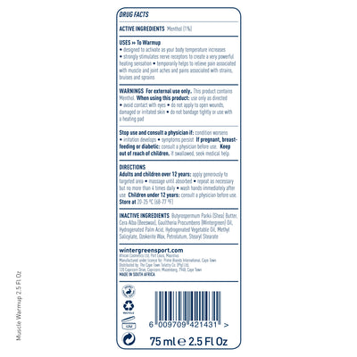 Wintergreen Muscle Warmup tube back label