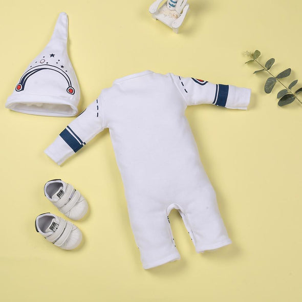 White astronaut comfort jumpsuit for 22'' reborn baby doll girl