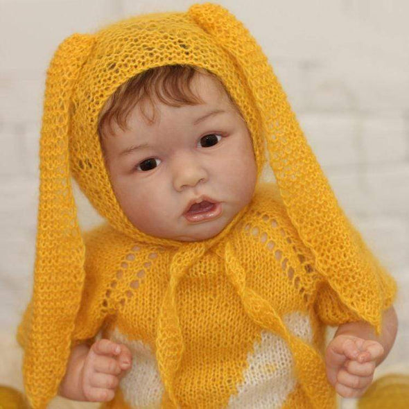 reborndollsshop 22'' Cloth Body Reborn Dolls 22'' Cute Estella Reborn Baby Doll Girl - Wearing a Yellow Wool Cap