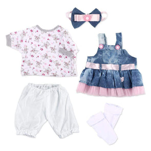 reborndollsshop baby clothing Reborn Baby Dolls Clothes Denim Dress Suit for 20- 22 inch Reborn Doll Girl Baby Clothing Baby Sets Reborn Dolls Matching Clothing 4 pcs Set