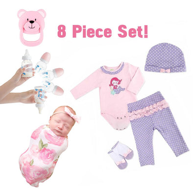 Adorable Adoption Reborn Baby Essentials-8pcs Gift Set A