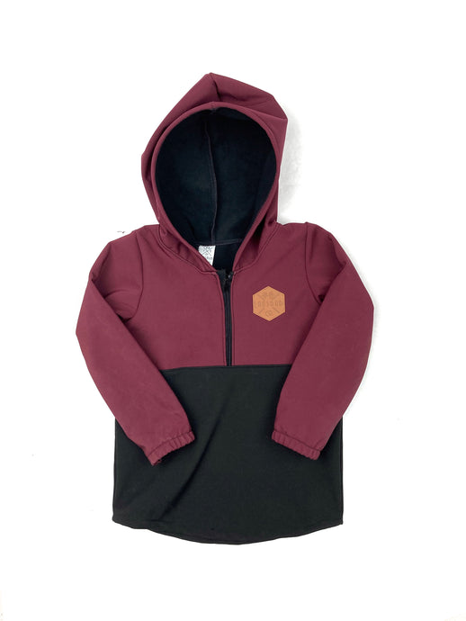 Maroon & Black Half Zip Softshell Jacket