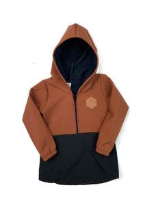 Pecan Brown & Black Half Zip Softshell Jacket