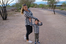 Load image into Gallery viewer, Black & White Check Half Zip Flannel Mommy & Me