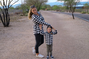 Black & White Check Half Zip Flannel Mommy & Me