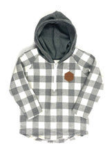 Load image into Gallery viewer, Grey & White Check Half Zip Flannel Mommy & Me
