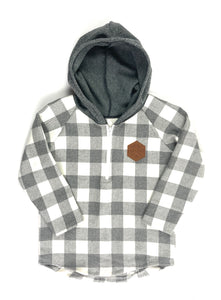 Grey & White Check Half Zip Flannel Mommy & Me