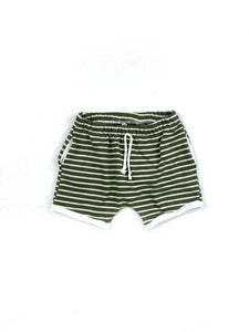 Dark Green Stripe Retro Pocket Shorts
