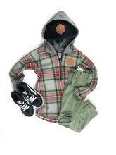 Load image into Gallery viewer, Grey Multi Tartan Plaid Half Zip Flannel Mommy & Me