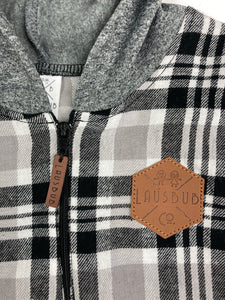 Black, Gray & White Flannel Half Zip Hoodie