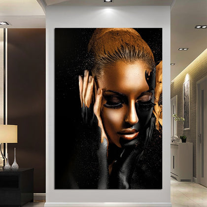 Black And Gold Women Oil Painting Modern Girl Portrait Canvas Painting Printed Pictures Home Decoration For Bedroom Posters|Painting & Calligraphy
