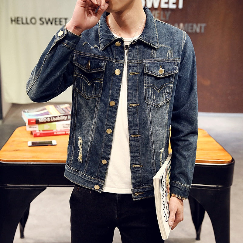 Jacket Chaqueta Hombre Solid Casual Slim Mens Denim Jacket Bomber Jacket Men Cowboy Men's Spring Jean|Jackets
