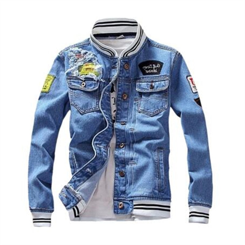 Male Streetwear Men Loose Jean Coats Zipper 2019 New Fashion Mens Denim Jacket Spring Casual Slim Fit Stand Collar Pilot Jackets|Jackets