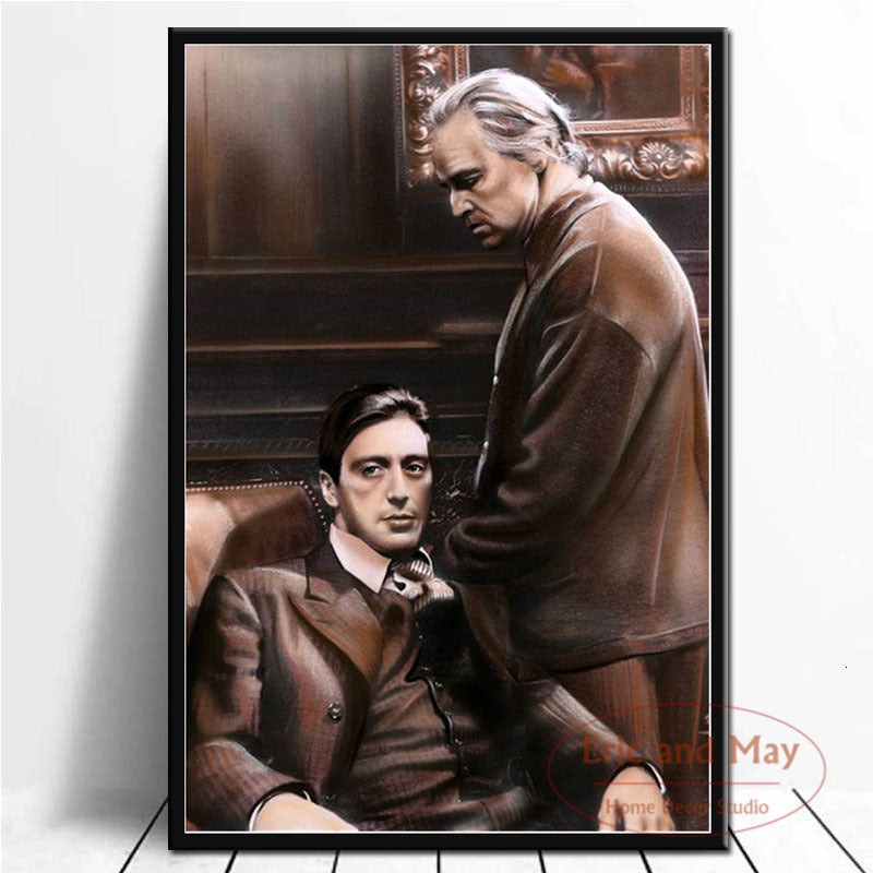 Posters and Prints The Godfather Movie Marlon Brando Al Pacino Poster Wall Art Picture Canvas Painting for Room Home Decor|Painting & Calligraphy