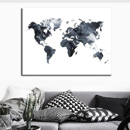 Watercolor World Map Poster Painting for Living Room Canvas Painting Poster and Prints Cuadros Wall Art Home Decoration Picture|Painting & Calligraphy