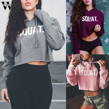 Womail Sweatshirts spring autumn Casual Loose Crop Top Letter Print Hoodie Fashion Long Sleeve women Sweatshirt capuche|Hoodies & Sweatshirts