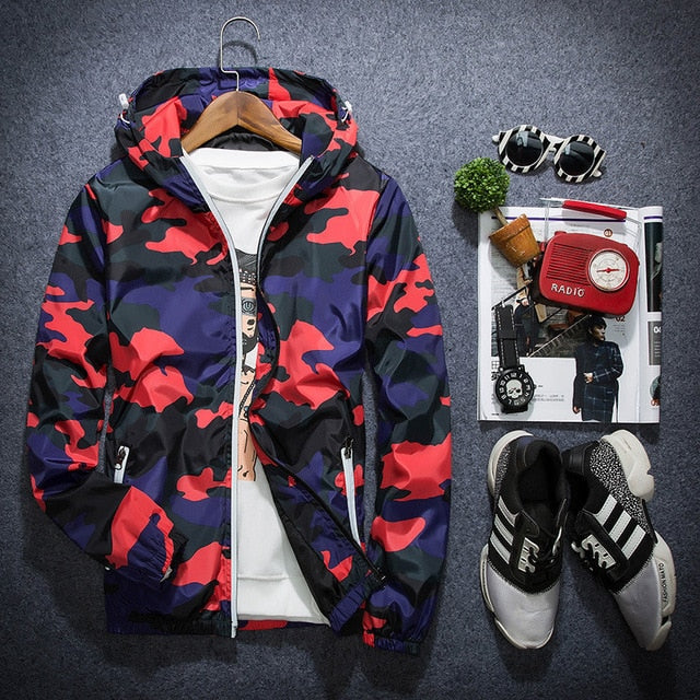 Men's Hooded Windbreaker Coat Male Outwear Mens Casual Camouflage Hoodie Baseball Jacket New Autumn Hip Hop Print Print Clothes|Jackets