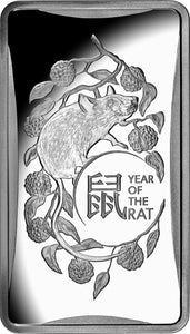 Lunar Calendar - Year of the Rat 2020 - $1 1/2oz Silver Frosted Ingot