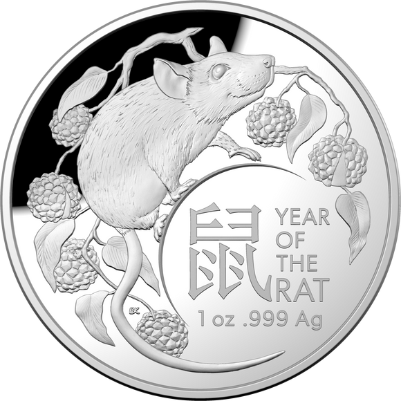 Lunar Calendar - Year of the Rat 2020 - $5 Ag Proof Domed Coin