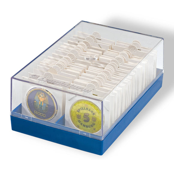 Plastic Box for 100 2x2 Coin Holders (Blue)