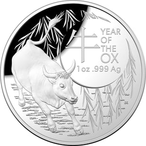 Lunar Calendar - Year of the Ox 2021 - $5 Ag Proof Domed Coin