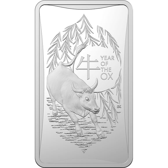 Lunar Calendar - Year of the Ox 2021 - $1 1/2oz Silver Frosted Ingot