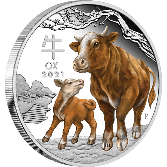 Australian Lunar Series III - 2021 Year of the Ox 1oz Silver Proof Coloured Coin