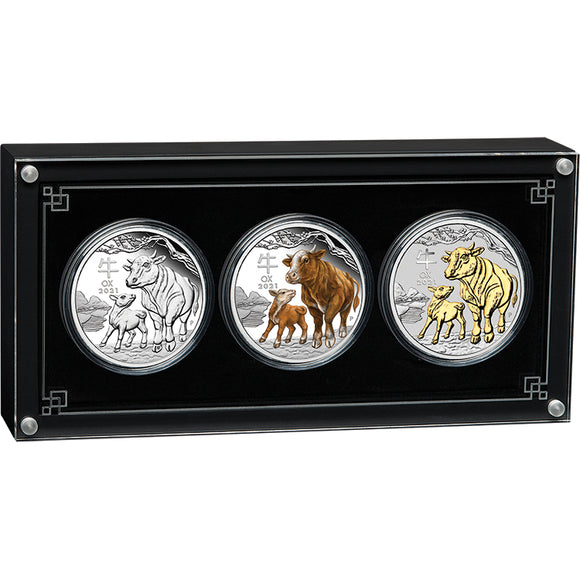 Australian Lunar Series III - 2021 Year of the Ox 1oz Silver Trio Set