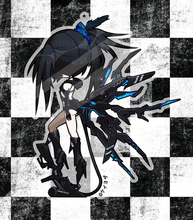 "Load image into Gallery viewer, Black Rock Shooter - BUNDLE 4"" Limited Edition Hard Enamel Pin & 3"" Acrylic charm"