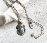 US Navy MkV Diving Helmet Necklace with Freshwater Pearl - Beneath the Sea