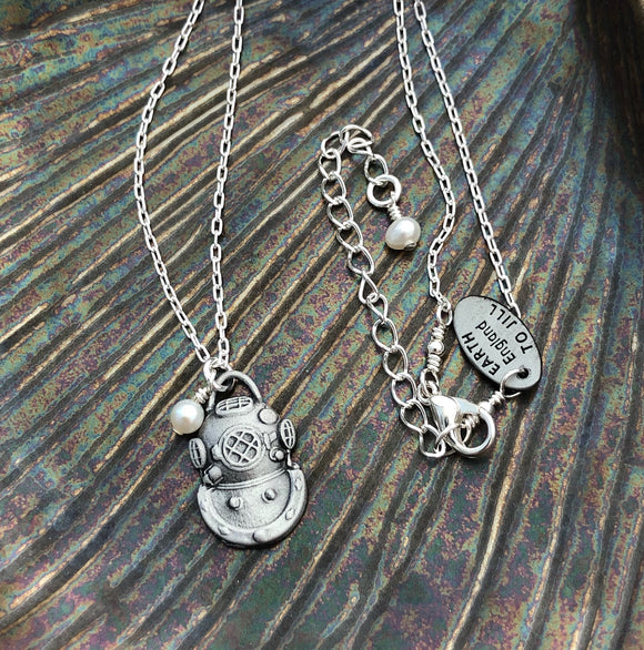 US Navy Mark V Diving Helmet Necklace with Freshwater Pearl - Small - Beneath the Sea