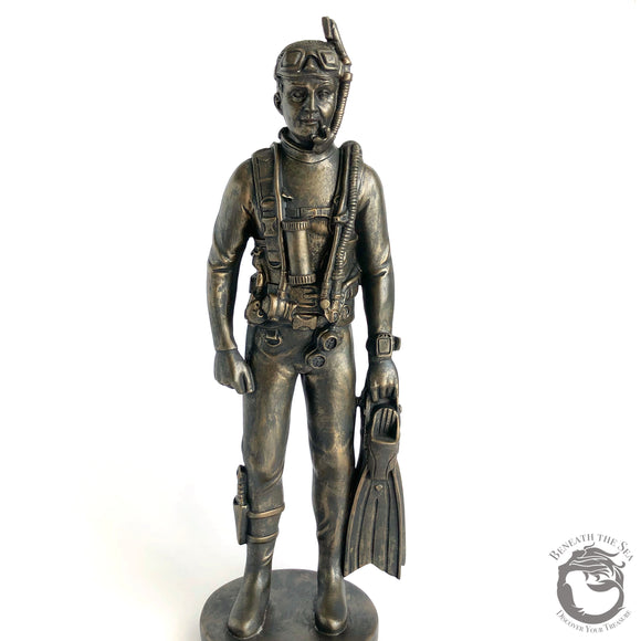 Male Scuba Diver Cold-Cast Bronze with Rig On - Beneath the Sea