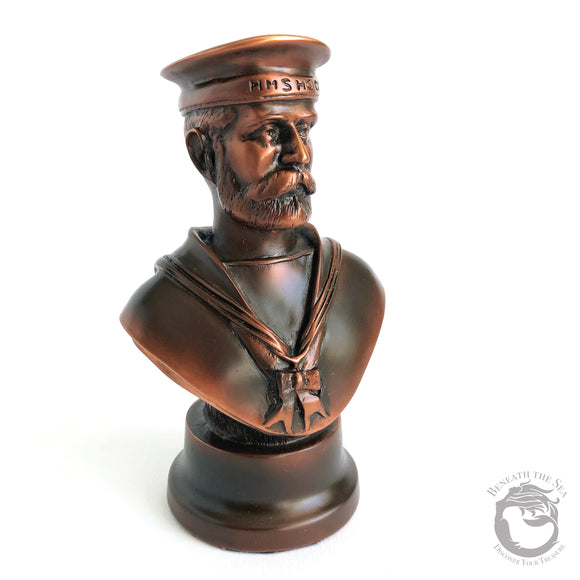 HMS Hood Navy Sailor Bust Antique Copper Finish - Beneath the Sea