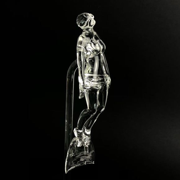 Handmade Glass Female Freediver on Ascent Monofin