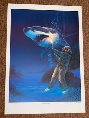 'The Challenge' - Siebe Gorman Diver and Great White Shark Fine Art Print - Beneath the Sea