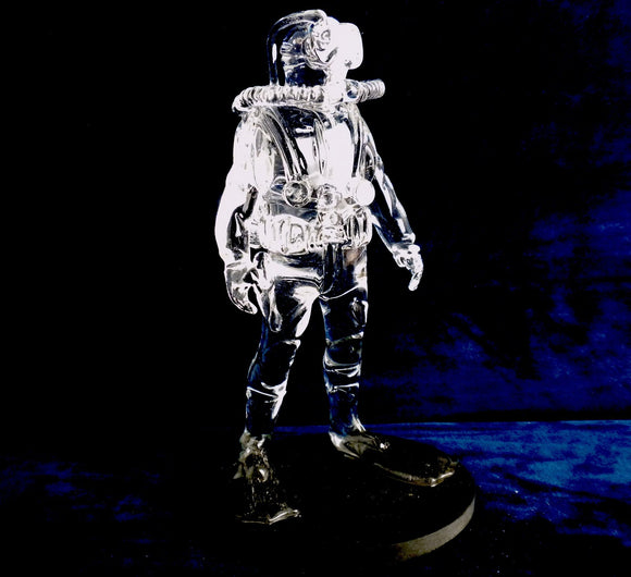 US Navy Diver wearing Mk16 Rebreather Handmade Glass Diver - Beneath the Sea