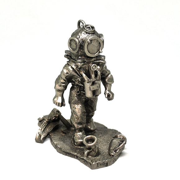 Unique Pewter Deep Sea Hard Hat Diver with Removable Helmet - Draeger - Beneath the Sea