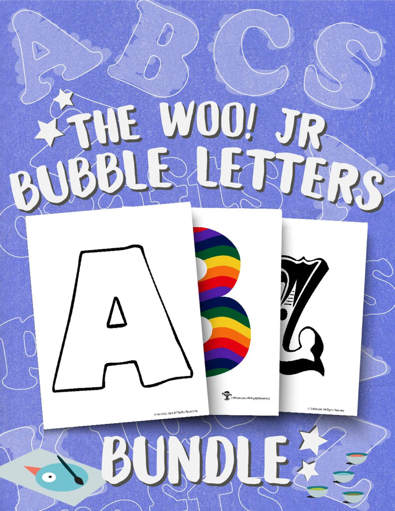 Printable PDF Bubble Letters Bundle - Woo! Jr. Kids Activities