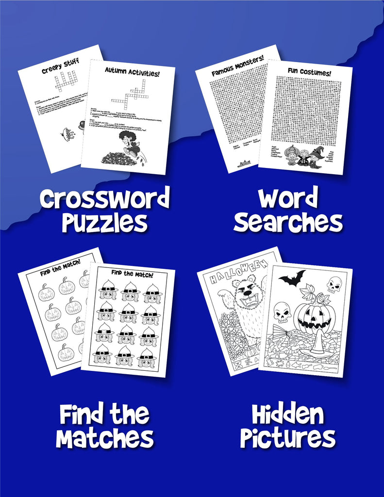 Halloween Activity Book For Kids: Reproducible Games, Worksheets And Coloring Book - Woo! Jr. Kids Activities