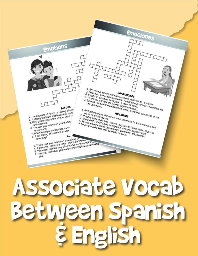 English and Spanish Crossword Puzzles for Kids: Reproducible Worksheets for Classroom & Homeschool Use - Woo! Jr. Kids Activities