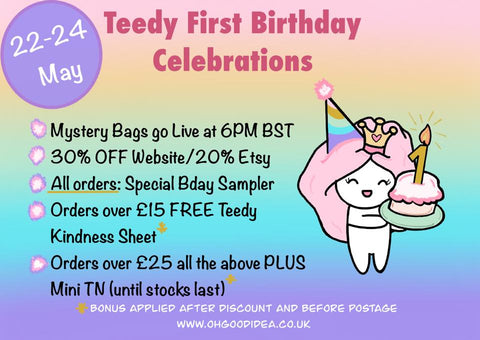 Teedy First Birthday, Planner Sale, Sticker Sale, Oh! Good Idea