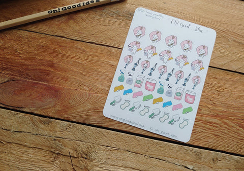 Oh! Good Idea Teedy planner stickers, hinching, Hinch Army, Mrs Hinch, cleaning, housework, functional stickers, hand drawn stickers for planners