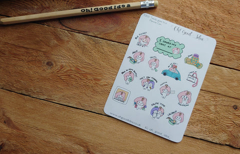 Oh! Good Idea Teedy planner stickers, plan, planner convention, planning time, meet up, planner meet stickers, hand drawn stickers for planners
