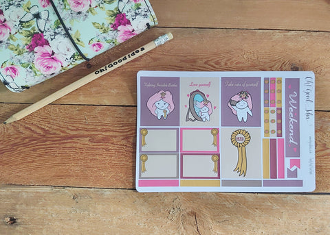 Oh! Good Idea Teedy planner stickers, Invisible battles, ilness, mental health hero, self care stickers, Erin Condren Planner Kit, hand drawn stickers for planners