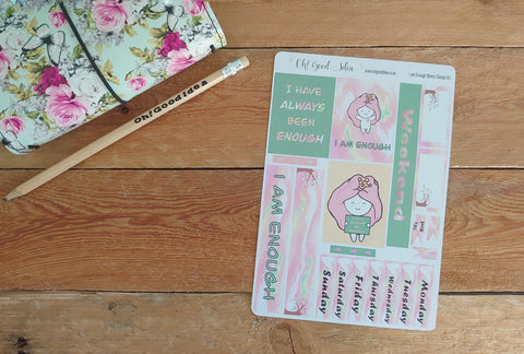 Oh! Good Idea Teedy planner stickers, I am enough self care stickers, Happy Planner Skinny Classic Planner Kit, hand drawn stickers for planners