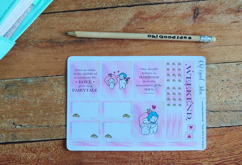 Oh! Good Idea Teedy planner stickers, wedding anniversary, valentines day party stickers, hand drawn stickers for planners, Erin Condren planner kit