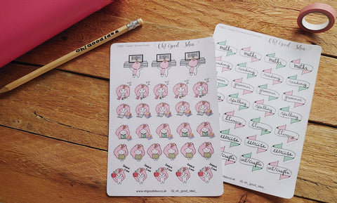 Oh! Good Idea Teedy planner stickers, Homeschooling, home school, script, icons, maths, literacy, PE, readings sticker pack bundle, hand drawn character stickers for planners