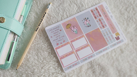 Oh! Good Idea Teedy Autumn, Fall planner kit stickers, hand drawn stickers for planners, Erin Condren Horizontal kit
